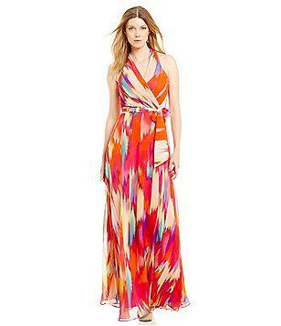 6cd8df7cab Leslie Fay V-Neck Tie-Waist Printed Chiffon Maxi Dress