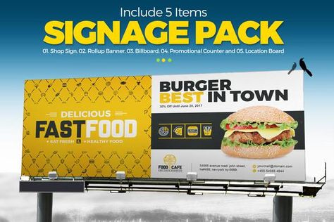 Digital Signage for Fast Food Agency | Billboard, Rollup Banner, Shop Sign, Promotional Counter, Location Board | Instant Download