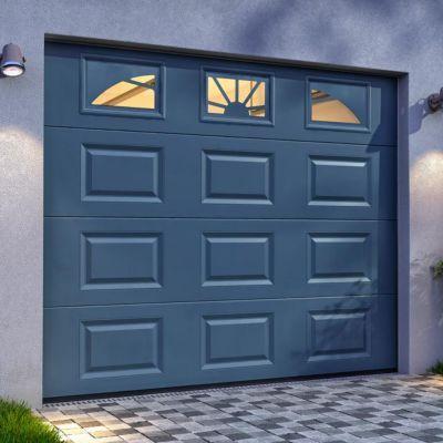 Porte De Garage Sectionnelle Hublots Grise Pas Cher Porte De Garage Castorama En 2020 Porte De Garage Sectionnelle Porte Garage Garage