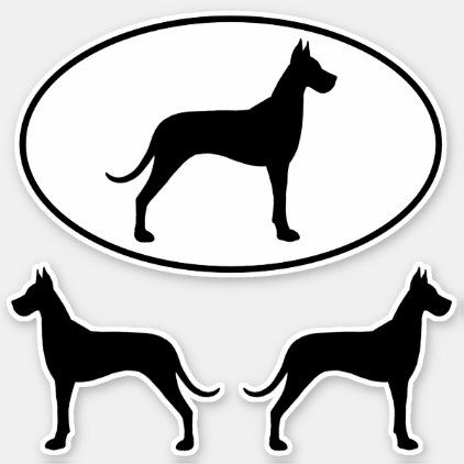 Great Dane Dog Silhouettes Vinyl Sticker Set Zazzle Com Great