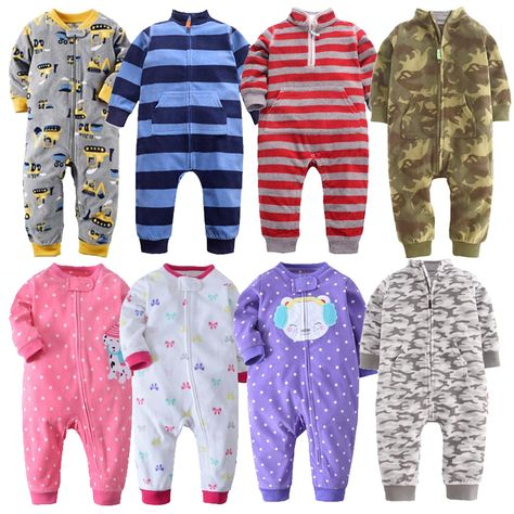 85f67b518 2018 Baby clothes bebes jumpsuit collar fleece newborn pajamas ...