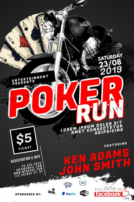 Poker Run Flyer Template Poker Run Contest Poster Poker
