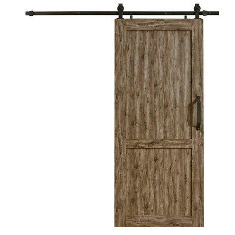 """Paneled Wood Unfinished Barn Door without Installation Hardware Kit 36/"""" x 84/"""""""