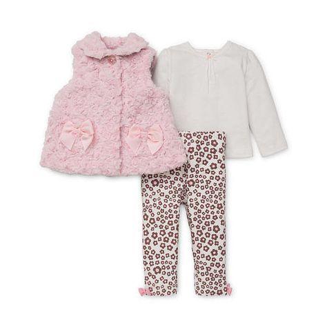 6ce501a59 Little Me Girls 3 Piece Light Pink Rosette Faux Fur Vest