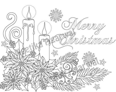 Christmas Candles - Adult Coloring Page - Christmas Coloring ...
