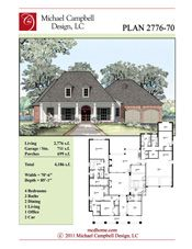 House Plan 2776 Square Feet 4 Bedroom 3 Bath, Louisiana Home Design,  Plantation Style Home, French Country House Plan, Country French House  Plan, ...