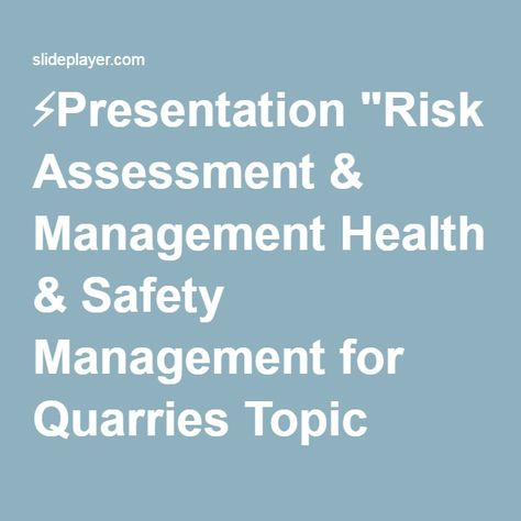 Presentation Risk Assessment  Management Health  Safety