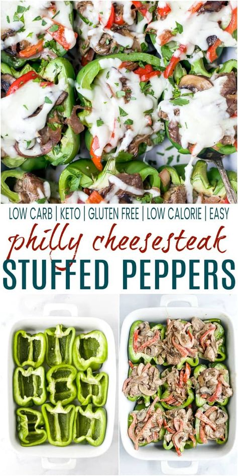 These Easy Philly Cheesesteak Stuffed Peppers are a healthy dinner idea that can easily be meal prepped. Low Carb Keto Stuffed Peppers filled with cheesy steak goodness, they taste just like a philly cheesesteak minus the bread! Cheesesteak Stuffed Peppers, Keto Stuffed Peppers, Stuffed Pepper Recipes, Stuffed Pepers, Cheesesteak Recipe, Beef Recipes, Low Carb Recipes, Cooking Recipes, Healthy Recipes