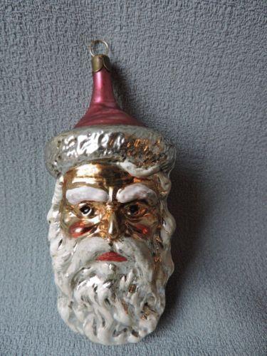 Antique German Glass Christmas Ornament Santa With Long Beard 1940 S