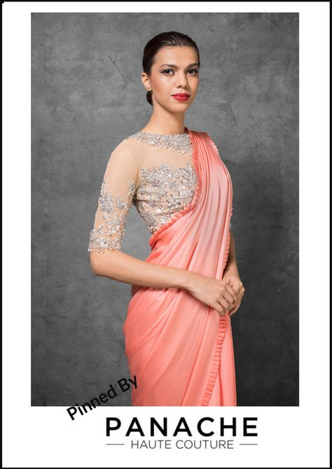 89b8223c9f5 Peach Color Satin Saree Embroidered Blouse From Manish Malhotra Collection.  For customisation please contact our