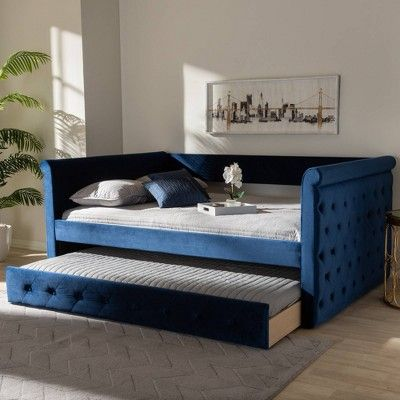 Full Amaya Velvet Daybed With Trundle Blue Baxton Studio Navy Blue Daybed With Trundle Upholstered Daybed Contemporary Daybeds