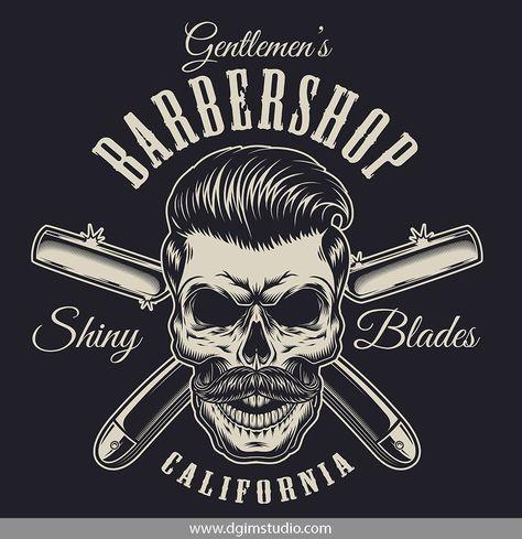 Vintage barbershop badge with stylish hipster skull and crossed razors. Click to the link to find more barbershop elements, badges, emblems and designs. #vectorillustration#vector#illustration#design#dgimstudio #barber #barbershop #hairdresser #razor #hipster #skull #hairstyle #mustache #stylish