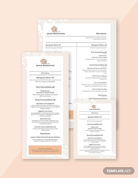 Simple Banquet Menu Menu Template Templates Menu Design