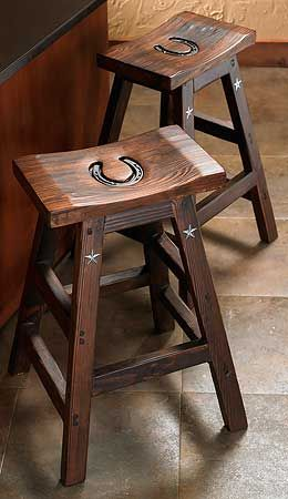 Cowboy Bar Stools  |  Wild Wings---- would be kinda neat with our brand on instead of the horse shoe....????