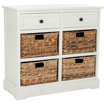 Ryan Ivory Storage Cabinet With 4 Wicker Baskets In 2020 Drawer Storage Unit Hallway Storage Wood Storage
