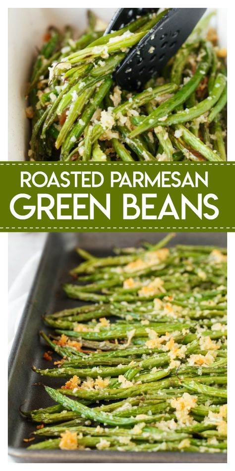 Roasted Parmesan Green Beans- delicious fresh green beans are roasted with a crunchy mixture of parmesan cheese and panko bread crumbs. They make the perfect side dish for your holiday meals! #roasted #parmesan #green #beans #holiday #sidedish