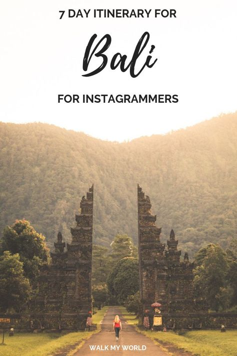 Bali is an Instagrammer's dream location. There are so many amazing photography spots it can be hard to know where to start. Don't worry we have you covered with this indepth 7 day Bali itinerary for Instagrammers. #Bali