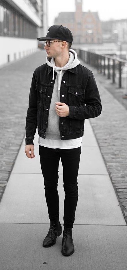 Itzmarvinn Monochrome Fall Outfit Idea With A Black Denim Jacket Gray Hoody Black Hat Glasses White T Mens Outfits Mens Clothing Styles Mens Fashion Casual