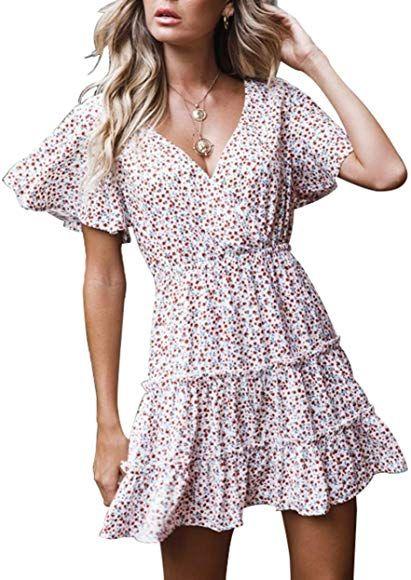 Womens Summer Boho Long Sleeve Sundress Ruffle Floral Wrap V Neck High Waist Beach Dress