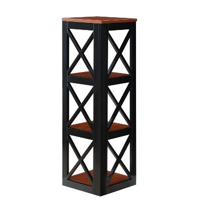 Oxford 3 Tier Corner Bookcase Cherry Brown Black Johar Furniture Red Black Bookcase Furniture Cherry Brown
