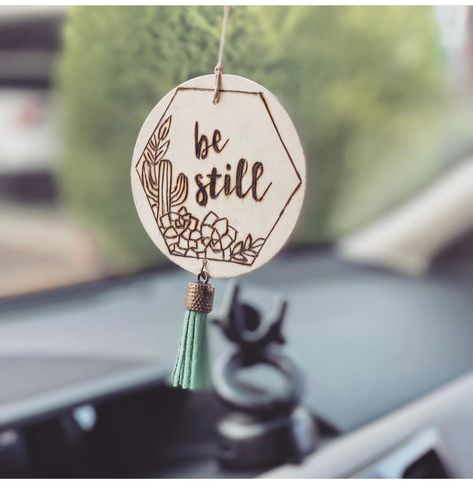 """""""Be still"""" car charm, can be customized with last initial, monogram or full name on reverse side. Handmade, wood burned art. #carcharm #giftideas #gifts #bestill #accessory #customized #customgift #christianwomen #faith Customized and charming wood gifts/accessories by TheWildB on Etsy"""