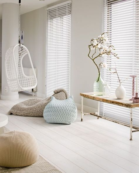 Welcome spring at any time of the year with soft white, string, taupe and ice blue.