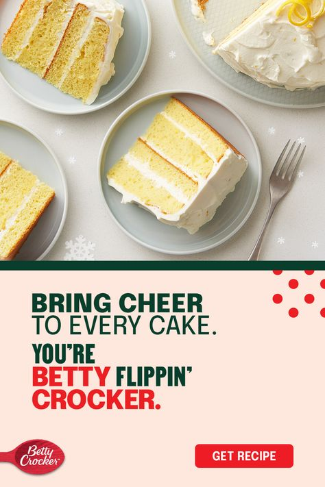Betty Crocker Super Moist lemon cake starts the show for a cheery Christmas cake that brings citrus to your holiday dessert plans. Impress with a silky-smooth homemade frosting spread between each layer made with a combination of cream cheese, whipping cream, powdered sugar, and grated lemon peel. Congrats, you've made the nice list for sure.