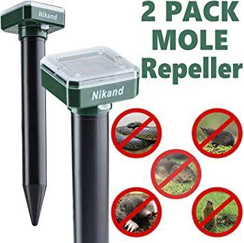 Amazon Com Nikand Solar Mole Repellent Ultrasonic 2 Pack Outdoor Powered Sonic Deterrent Mole Stopper Scare Vole F In 2020 Mole Repellent Repeller Rodent Repellent