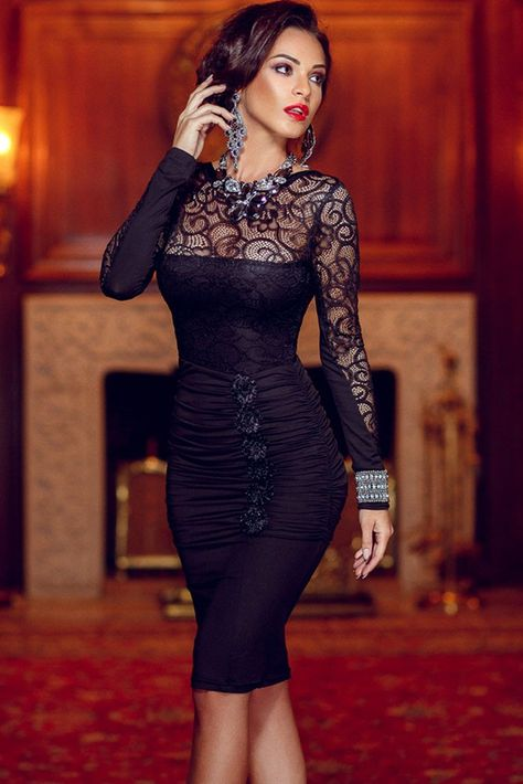 99f50baa77a Long Sleeve Celebrity Floral Applique Lace Bodycon Midi Dress LC60820 Hollow  Out autumn winter dress – Fashion Millions