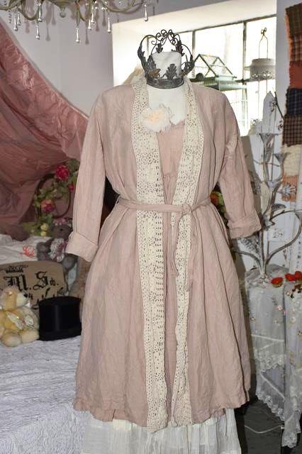 Les Ours Mantel Coat Fantine Leinen Altrosa Altrosa Hippie Kleidung Und Leinen