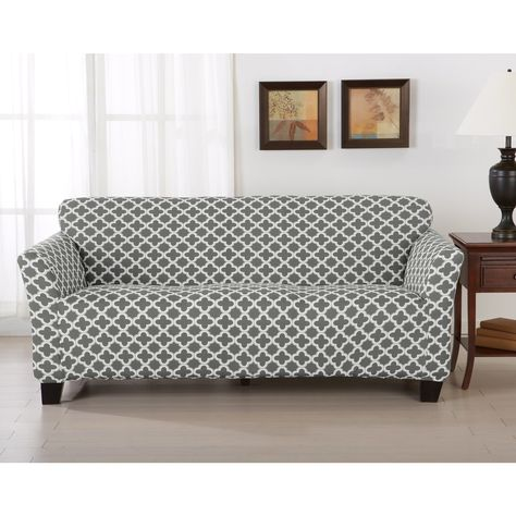 Brenna Collection Trellis Print Stretch Form Fitted Sofa Slip Cover In Charcoal As Is Item Furniture Slipcovers Cushions On Sofa Best Sofa Covers