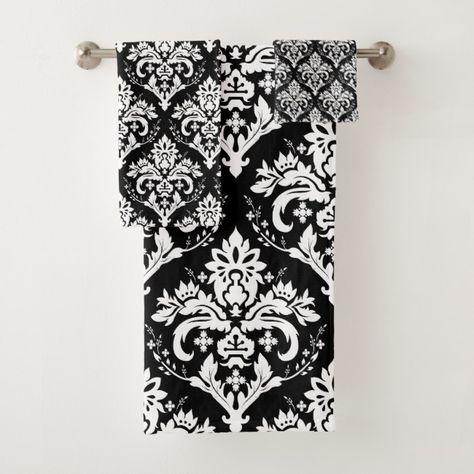 White On Black Damask Pattern Bath Towel Set Zazzle Com