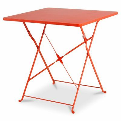Table De Jardin En Metal Saba Rouge Vermillon Pliante 70 X 70 Cm