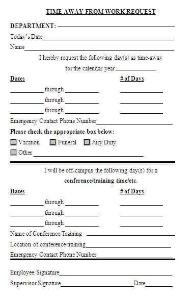 Time Off Request Form 589 Time Off Request Form Templates Excel Templates