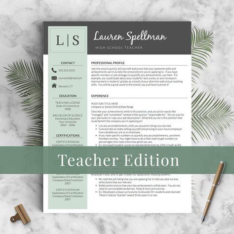 Teacher Resume Template for Word \ Pages 1 2 door - teacher resume template microsoft word