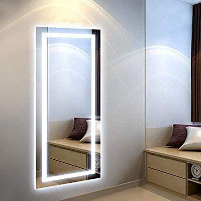 Amazon De Skerito Ganzkorper Spiegel Led Fur Garderoben 50 X 120 Cm Schminkspiegel Led Badezimmerspiegel