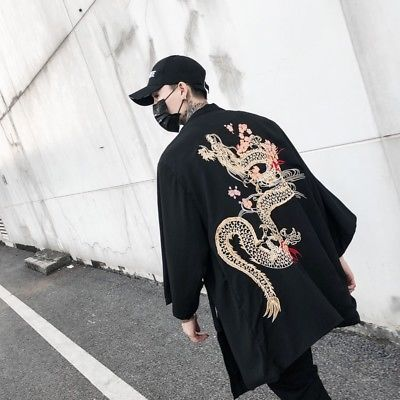 Chinese style mens retro embroidery dragon cotton blend coat plus jacket outwear