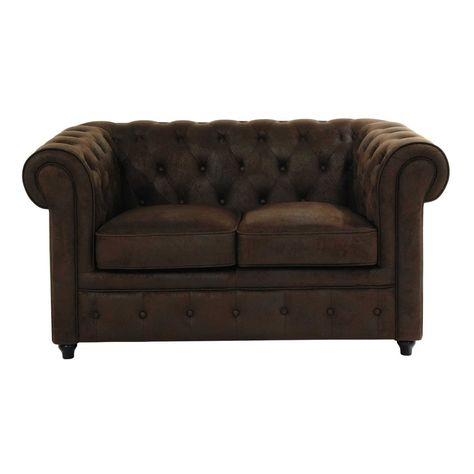 Canape Capitonne 2 Places En Suedine Marron Button Sofa Sun