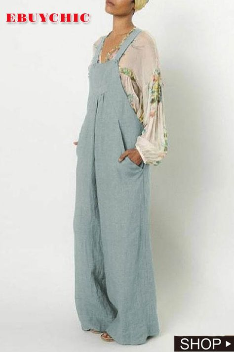 This suspender jumpsuit is tailored with pocket and wide leg, and you may wear this cotton and linen jumpsuit in casual life and vacation in fall.  jumpsuit outfit dressy,jumpsuit outfit fall,jumpsuit outfit work,jumpsuit elegant,jumpsuit elegant formal,jumpsuits for women classy #jumpsuitsworkout #jumpsuitsforwomen #jumpsuitoutfits #jumpsuit #ebuychic