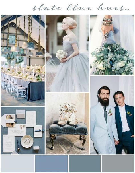 Slate & Blues: Wedding Colour Inspiration & Ideas (Slates & Blue) and also (Blue and silver)