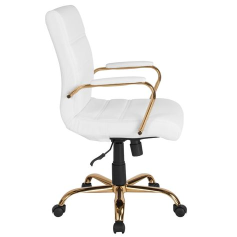 Mid Back Leather Executive Office Chair White/Gold - Riverstone Furniture Best Office Chair, Swivel Office Chair, Executive Office Chairs, Office Desk Chairs, Modern Office Chairs, Girls Desk Chair, White Desk Chair, Room Ideas Bedroom, Bedroom Chair