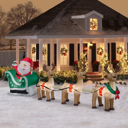 Airblown Inflatable Santa Sleigh And Reindeer Scene 12 5ft Wide Inflatable Christmas Decorations Christmas Yard Decorations Christmas Decorations For The Home