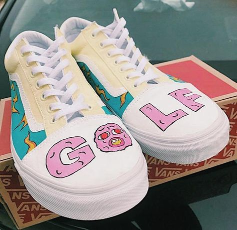 d015f274b4cd Golf Old Skool Vans Tyler the Creator Inspired Handpainted Custom Shoes
