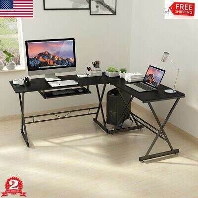 Advertisement Corner Computer Pc Desk L Shaped Office Furniture Gaming Table Stand Workstation In 2020 Corner Computer Desk Pc Desk Pc Gaming Table