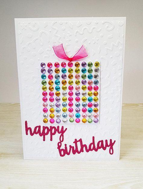 Happy Birthday Card Rainbow Present Blank Greeting Card Handmade Birthday Card Girl Birthday Cards Greeting Cards Handmade Birthday Handmade Birthday Cards