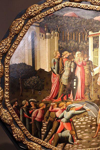 Maestro del Giudizio di Paride al Bargello (Cecchino da Verona?) -  Lapidazione dei vecchioni molestatori di Susanna, dettaglio desco da parto  - Collezione privata