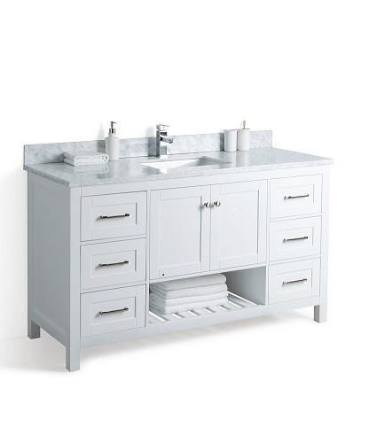 Taiya Bathroom Vanity In White 60 Inch Broadway Vanities