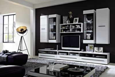 Weißes wohnzimmer ~ Wohnwand weiss hochglanz mit beleuchtung jetzt bestellen unter