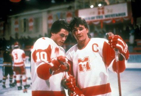 aa3af6a0875 Rob Lowe and Patrick Swayze in a scene from the hockey film