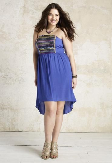 high-low bead embroidered plus size tube dress - maurices